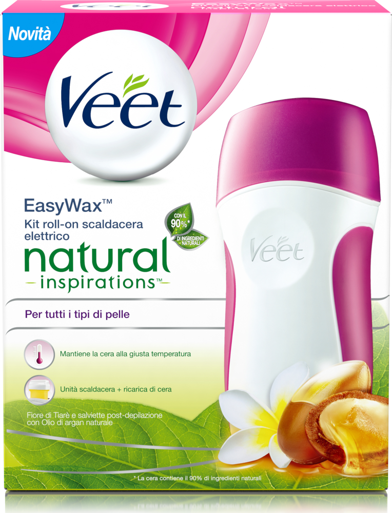 Kit di depilazione Cere Easy Wax Kit Natural Inspirations Fiore Tiarè & Argan Oil Veet