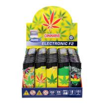 Electronic Flat Fantasia F2 Cannabis - Box 50 Accendini ricaricabili