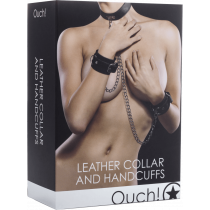 Ouch! Leather Collar and Handcuffs - Collare e manette