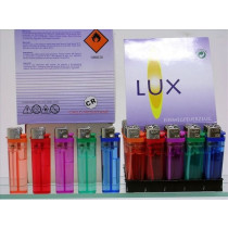 Lux Accendini trasparenti con pietrina - box 50 accendini all'ingrosso